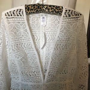 trina turk white lace blazer